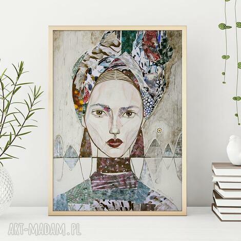 plakat 50x70 cm - kobieta w turbanie, plakat, wydruk, turban, kobieta, postać
