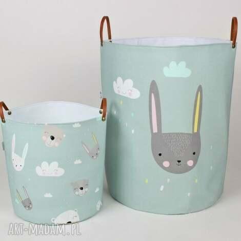 pokoik dziecka komplet dwóch pojemników z króliczkami, pojemnik