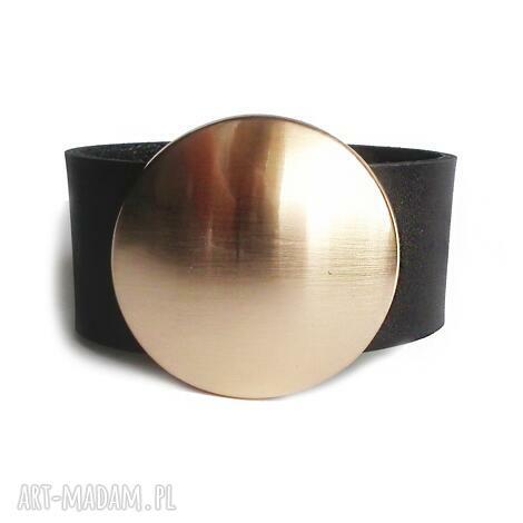 bransoleta skórzana czarna złota tarcza, złota