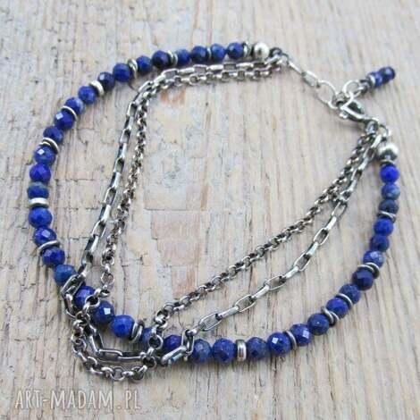 lapis lazuli z łańcuszkami - bransoletka, lazuli, srebro