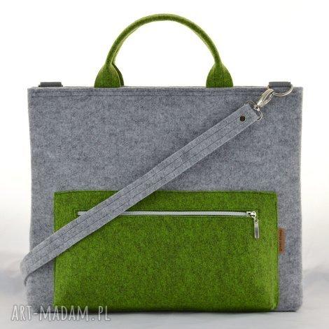 4773f59b3f7 torba na laptopa w kolorze szarym i zielonym, pojemna filcowa torebka, ramię