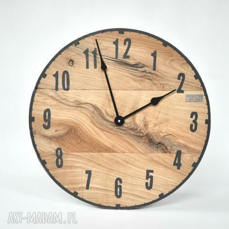 oldtree zegar loft - dębowy, średnica 50 cm, loftowy, malowany, scienny