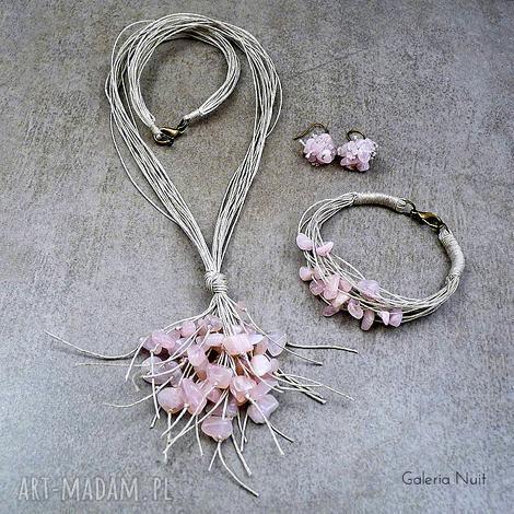 kwarc różowy - komplet biżuterii, delikatny, jasny, kobiecy, pastelowy