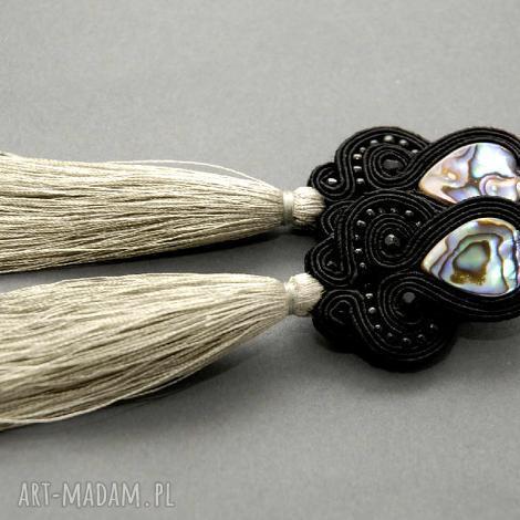 klipsy sutasz z muszlą paua - sznurek, eleganckie, wiszące, wieczorowe, długie