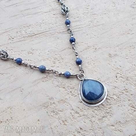 JewelsbyKT: szafirowa kropla - naszyjnik, srebrna biżuteria, naszyjnik srebro, szafiry, elegancka