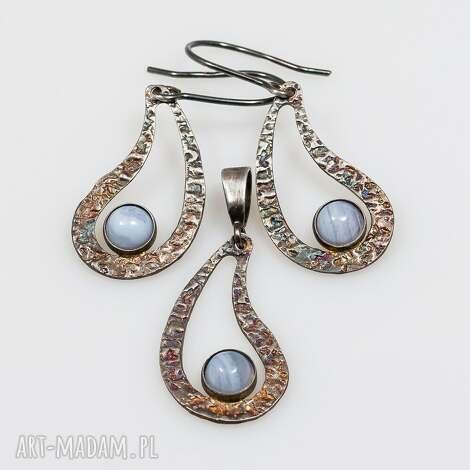 komplet srebrny z chalcedonem a114, komplet, srebro, kolczyki, wisiorek