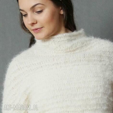swetry sweter ecru, sweter, lekki, alpaka, wełniany, półgolf, dziergany