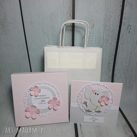 zestaw słonik w kwiatach - chrzest, urodziny, roczek, narodziny, słonik