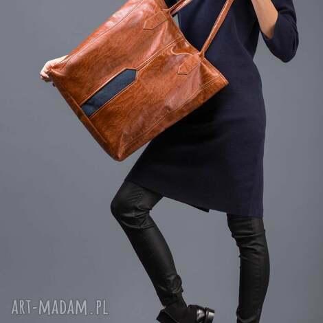 pillar - duża torba shopper kasztan i granat, shopper, duża, pojemna