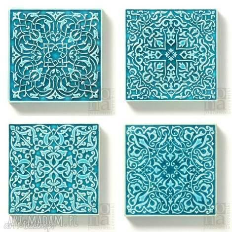 ceramika dekory cztery ornamenty w turkusie, dekory, kafle, arabeski, płytki, kafle