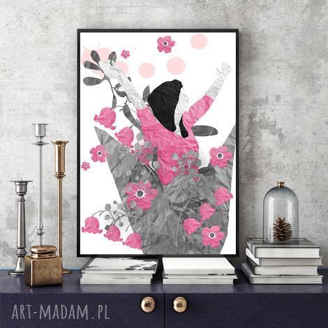 grafika radość art print a4, grafika, kobieta, kwiaty, ilustracja, wycinanki, kolaż