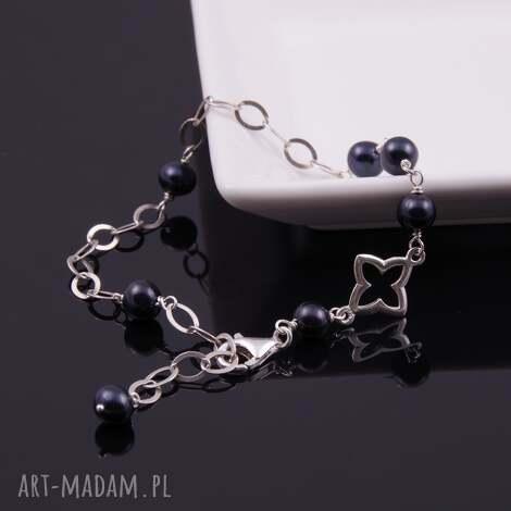 srebra bransoletka z czarnych pereł, czarne perły, perły rzeczne, srebro