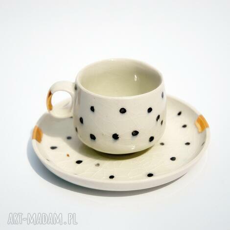 filiżanka ze spodkiem dalmatyńczyk - porcelit, filiżanka, kawa, espresso, złote