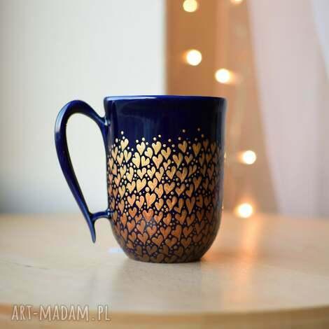 kubek ceramiczny złote serduszka ombre 300 ml, w serduszka