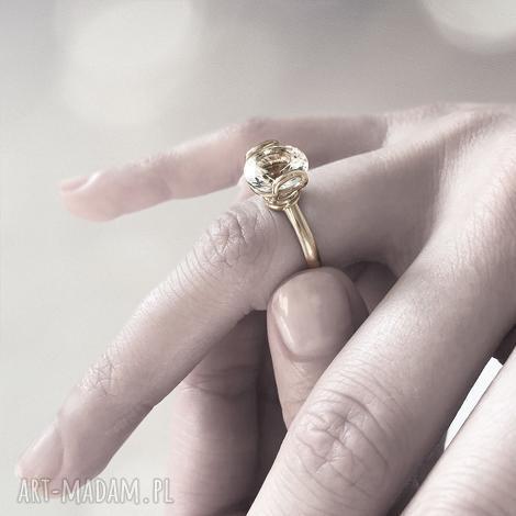 pierścionek ayo żółte złoto 585 biały topaz 10mm, złoto, topaz, zaręczyny, rocznica