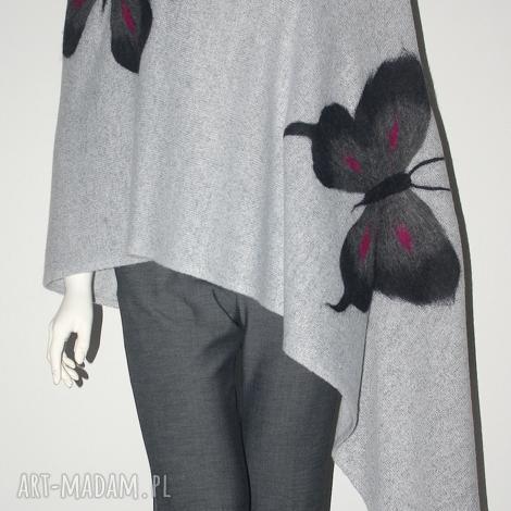 szal filcowany - motyle, filcowanie, prezent, urodziny, wełna