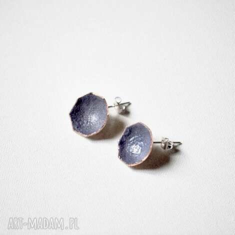 kolczyki violet rays, miedź, srebro, emalia, biżuteria