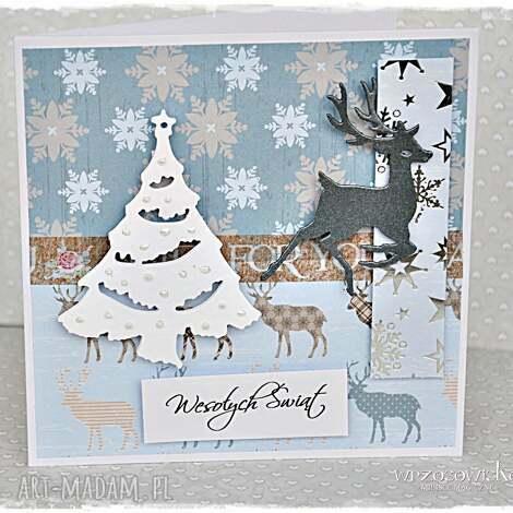 Świąteczne renifery - kartka - kartka, święta, życzenia