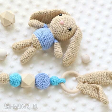 zestaw gryzak maskotka - grzechotka, szydełkowe, króliczek zabawka
