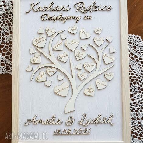 ślub podziękowania dla rodziców w drewnianej ramie obraz 3d drzewo drzewko