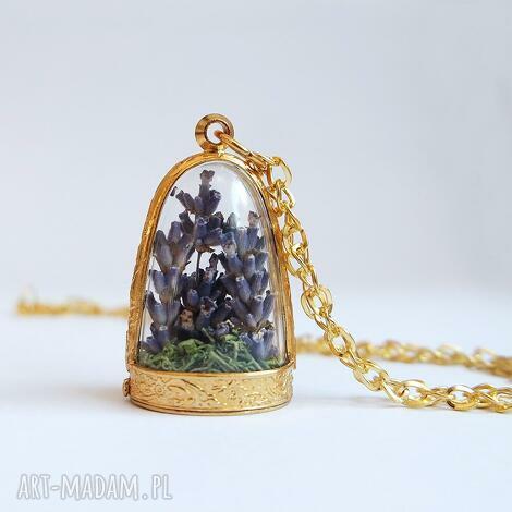 lawendowy las - naszyjnik, mech (medalion, lawenda, prezent)