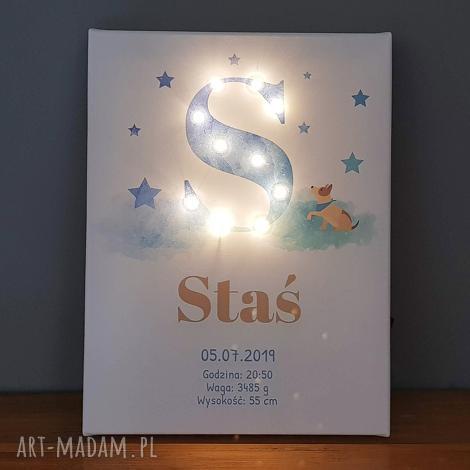 świecąca litera led personalizowany obraz metryczka dla chłopca prezent