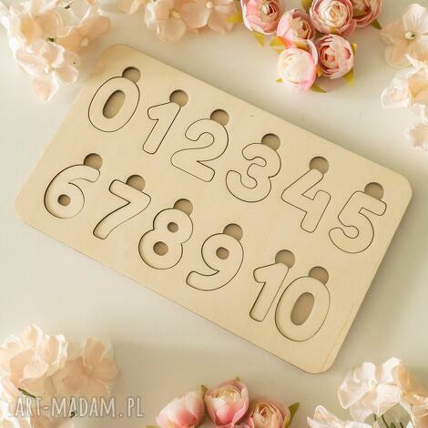 drewniana układanka - cyfry, puzzle, drewniane cyfry montessori