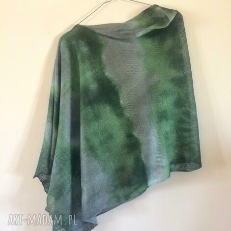 anna damzyn lniane ponczo green gray, ponczo, narzutka, sweter, len, upominek
