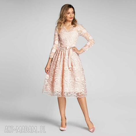 sportowe sukienka daria midi kamelia ró, koronka, koronkowa sukienka, różowa