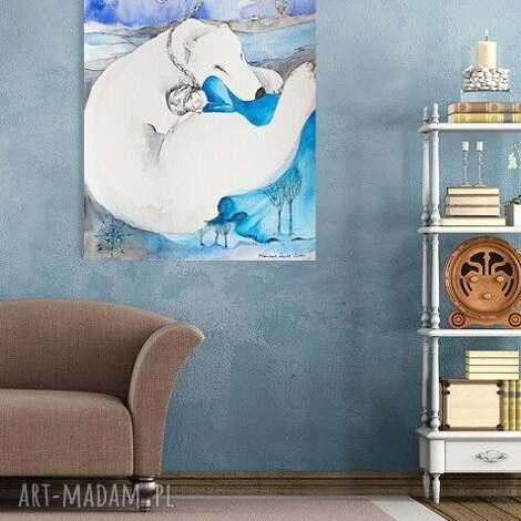 polarny sen obraz na w 100 bawełnianym płótnie 100x70cm artystki a laube, wydruk, miś