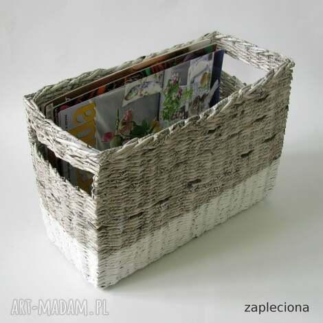 kosze gazetnik gray white, dom, święta prezenty