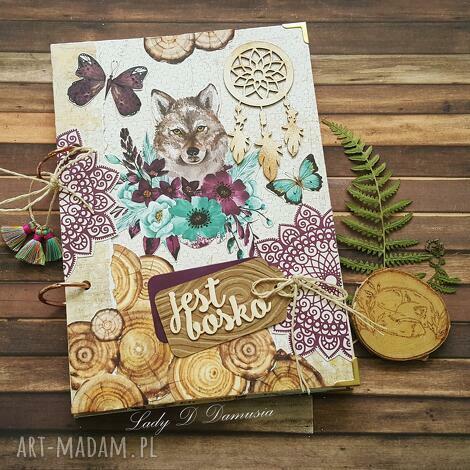 scrapbooking notesy stylowy notes/pamiętnik z wilkiem w stylu boho, pamiętnik