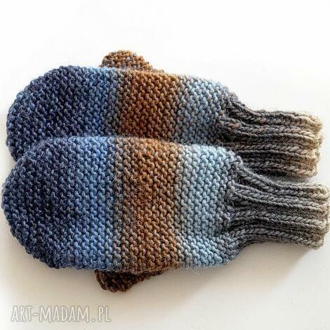 wełniane rękawiczki - rękawice, jednopalczaste dziergane
