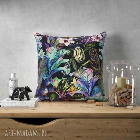 welurowa poduszka w dzikie kwiaty - welur, tkanina tapicerska orchidea liście