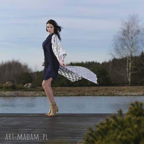 sukienka furiru blu, sukienka, jeans, dżins, zakładki, falbanki, rozpinana sukienki