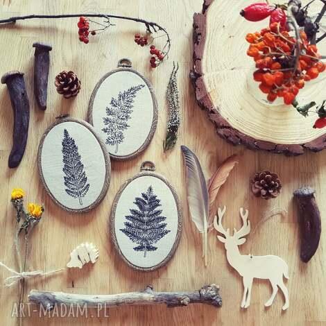 unikalne, tryptyk paprotki, paproć, las, leśne, len, obrazek