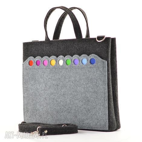 duża grafitowa torebka - laptopówka z kropkami, filc, kropki, kolorowa, filcowa