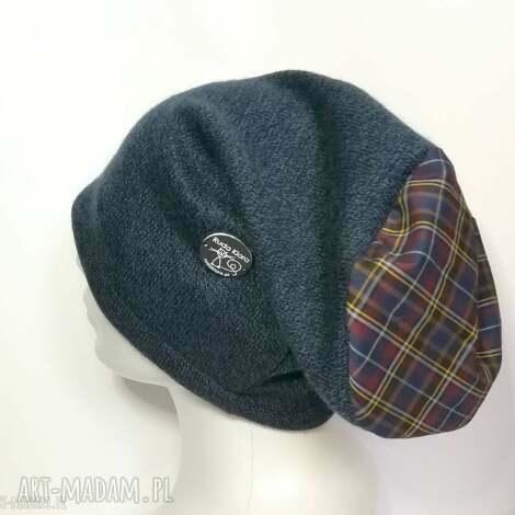 czapka granatowa wełniana damska męska unisex - czapka, zimowa, ciepła, etno