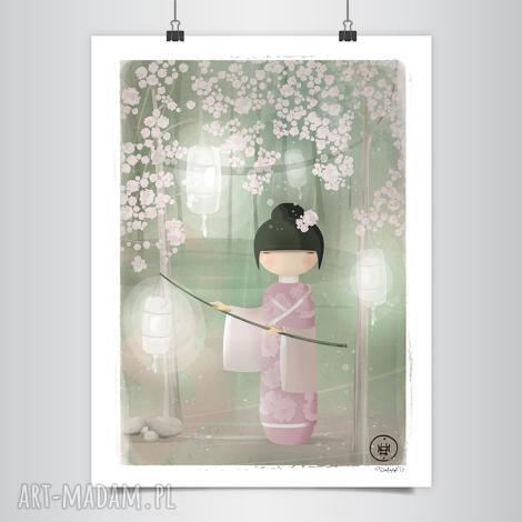 lapatiq - kokeshi sakura grafika b2 - dom, kokeshi, różowy, grafika, wiosna