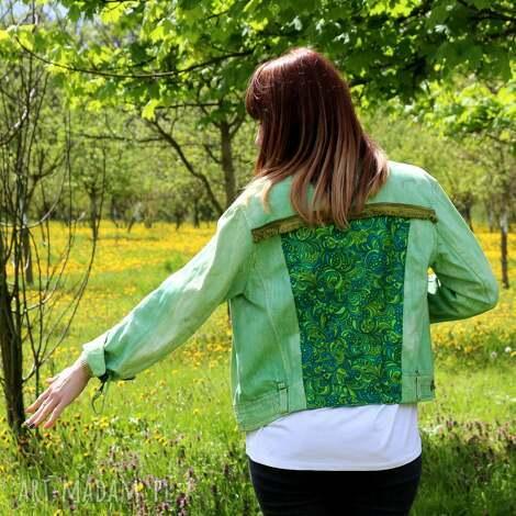 zielona kurtka katana z chwostami - kurtka, katana, vintage, denim, dżisnowa, chwosty