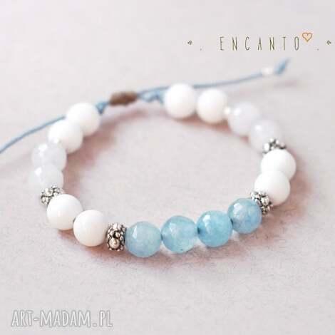 bransoletki blue and white, kamienie, naturalne, jadeit, marmur, sznurek, wyjątkowy