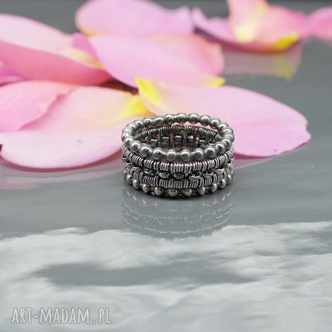 BranickaArt: wired - zestaw srebrnych obrączek - pierścionek obrączka wire wrapping srebro