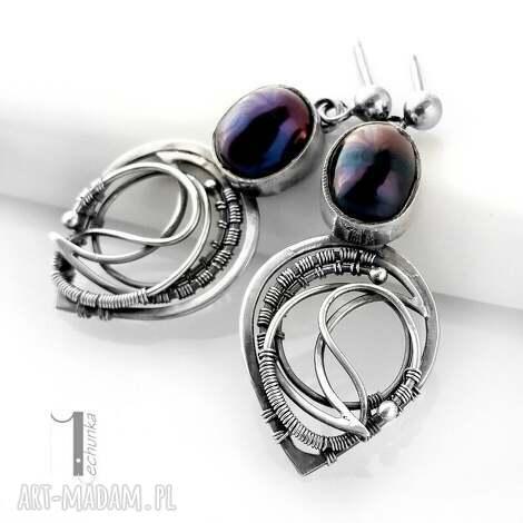 skadi i - srebrne kolczyki z perłami, srebro, 925, wirewrapping, perły, prezent