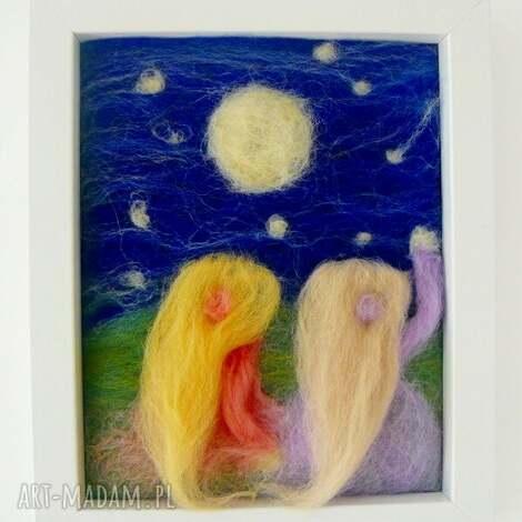 spadająca gwiazda - filc, obraz, filcowania, handmad, dekoracja, prezent