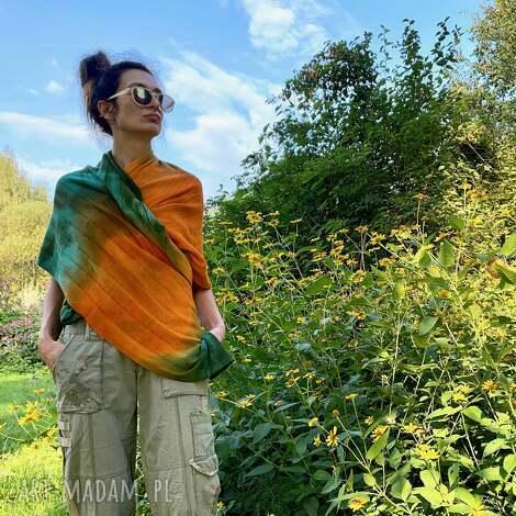 anna damzyn wełniany szal green orange, szal, wełna, dzianina, unikat, zimowy