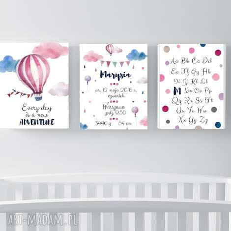 zestaw 3 plakatów z metryczką adventure a4 - metryka, metryczka narodziny
