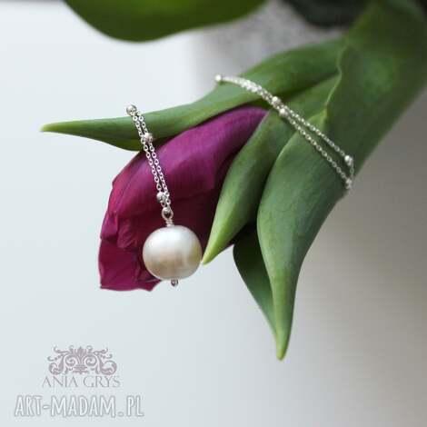 Anna Grys - lady with white pearl, wisiorek, perła srebrny, naszyjnik, aniagrys