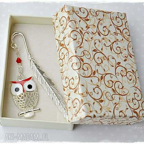scrapbooking notesy sówka w czerwieni - zakładka pudełeczku, zakładka, sowa