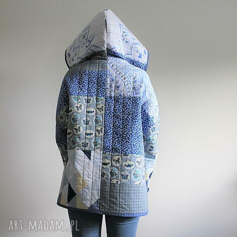 płaszcz patchworkowy krótki z kapturem - waciak - płaszcz patchwork