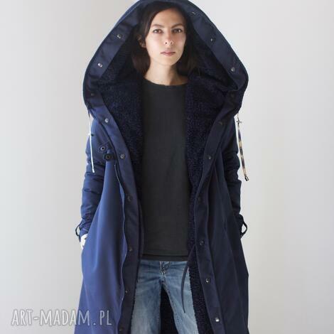 kurtka zimowa granatowa czarna podpinka - przeciwdeszczowa, karakuły, futro ciepła
